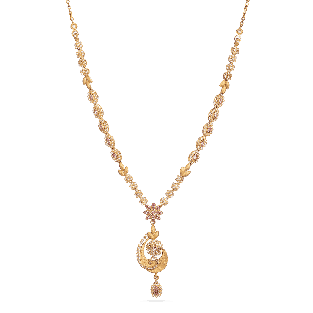 28889 - Asian Gold Necklace with Polki Stones