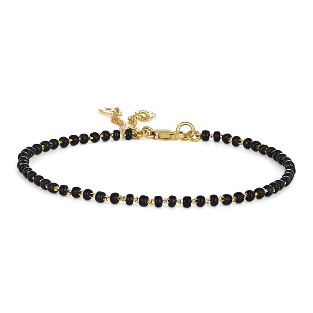28910 - 22 Carat Gold Ladies Bracelet with Black Beads