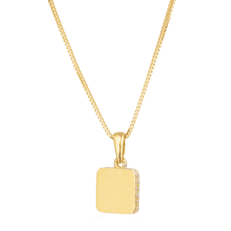 28532 - 22ct Yellow Gold Square Shaped Charm Pendant
