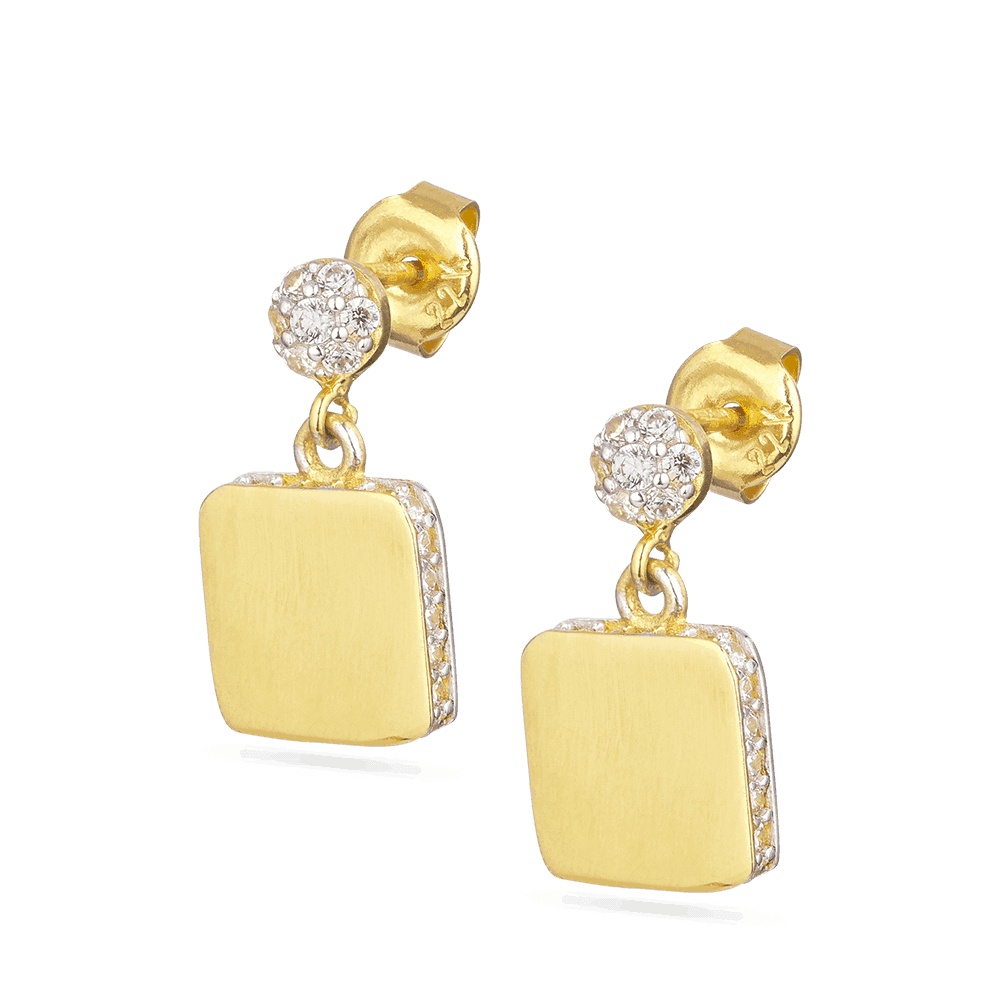 28535 - 22KT Yellow Gold Cubic Zirconia Earring