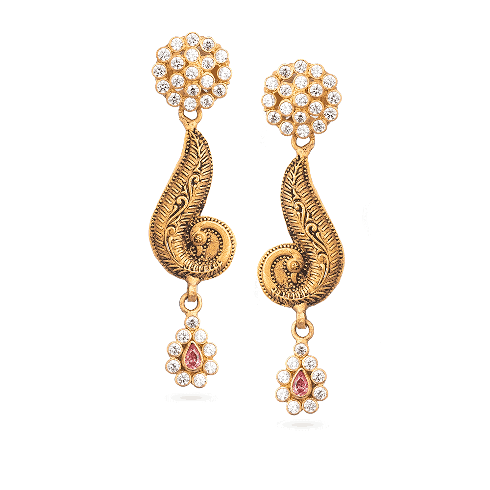 28894 - Bridal Earring With Antique Finish