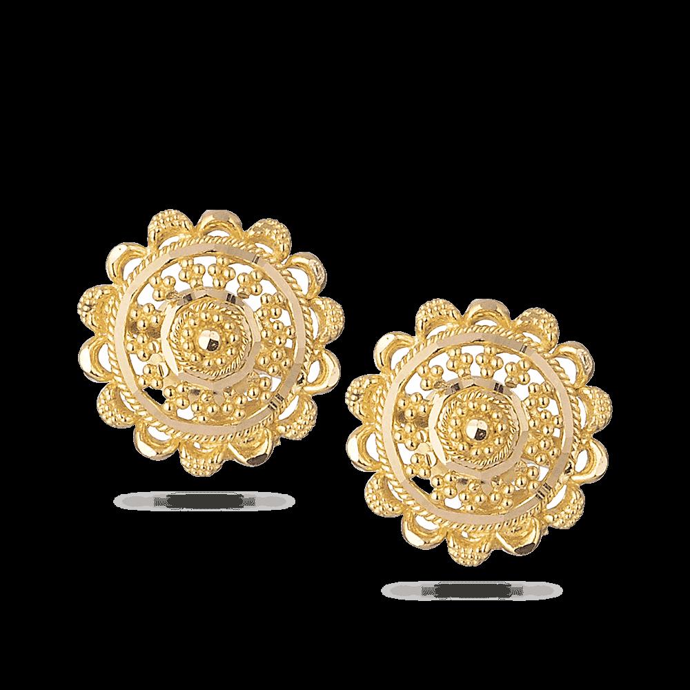 28676 - 22k Indian Gold Stud Earrings