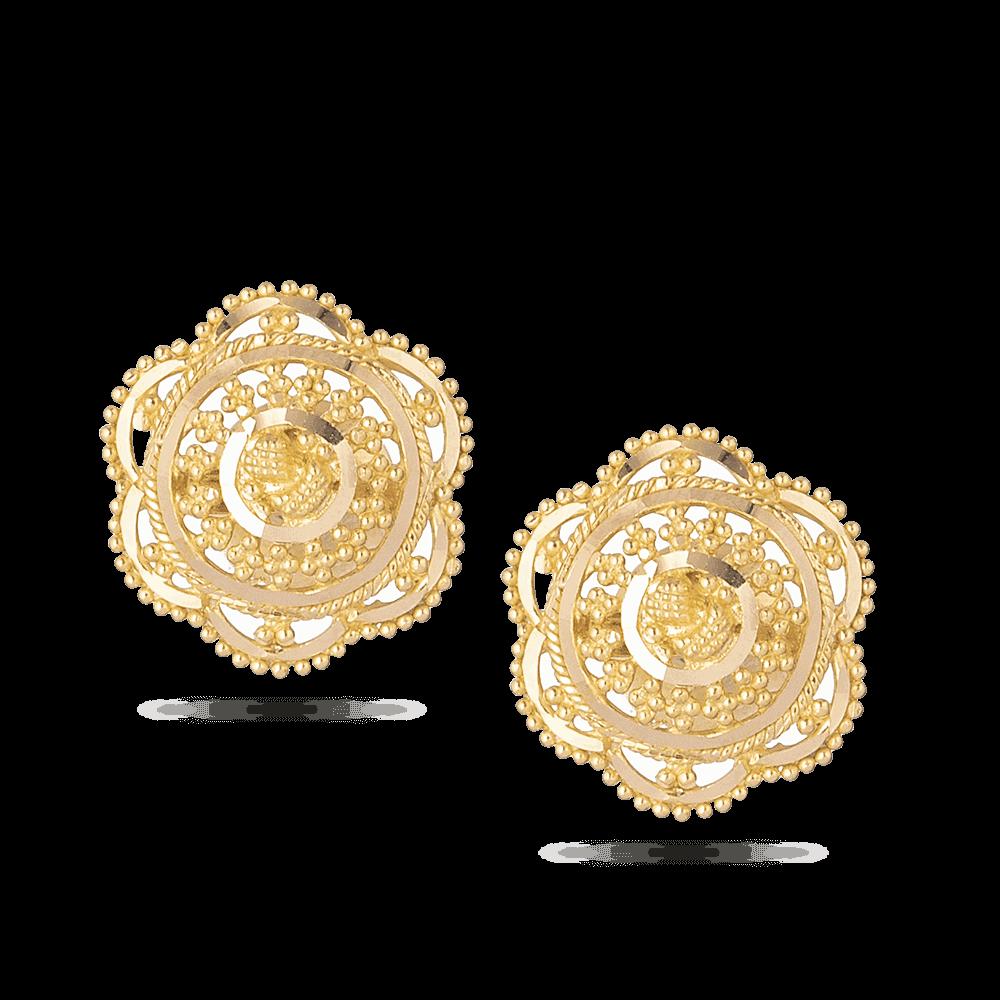 28678 - 22 Carat Gold Filigree Stud Earrings