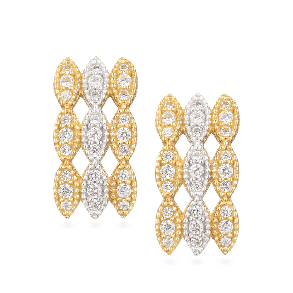 30015 - 22ct Yellow Gold Earring With Rhodium Finish