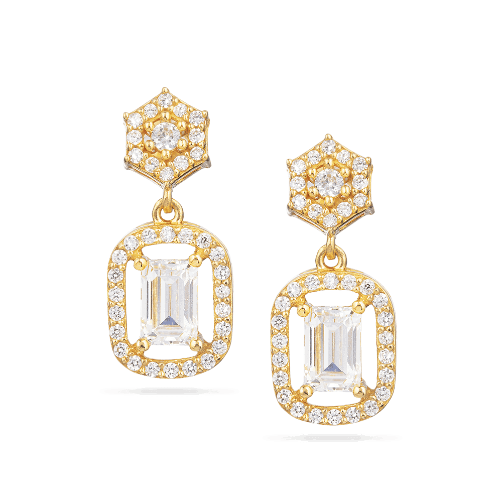 30027 - 22ct Gold Cubic Zirconia Earring