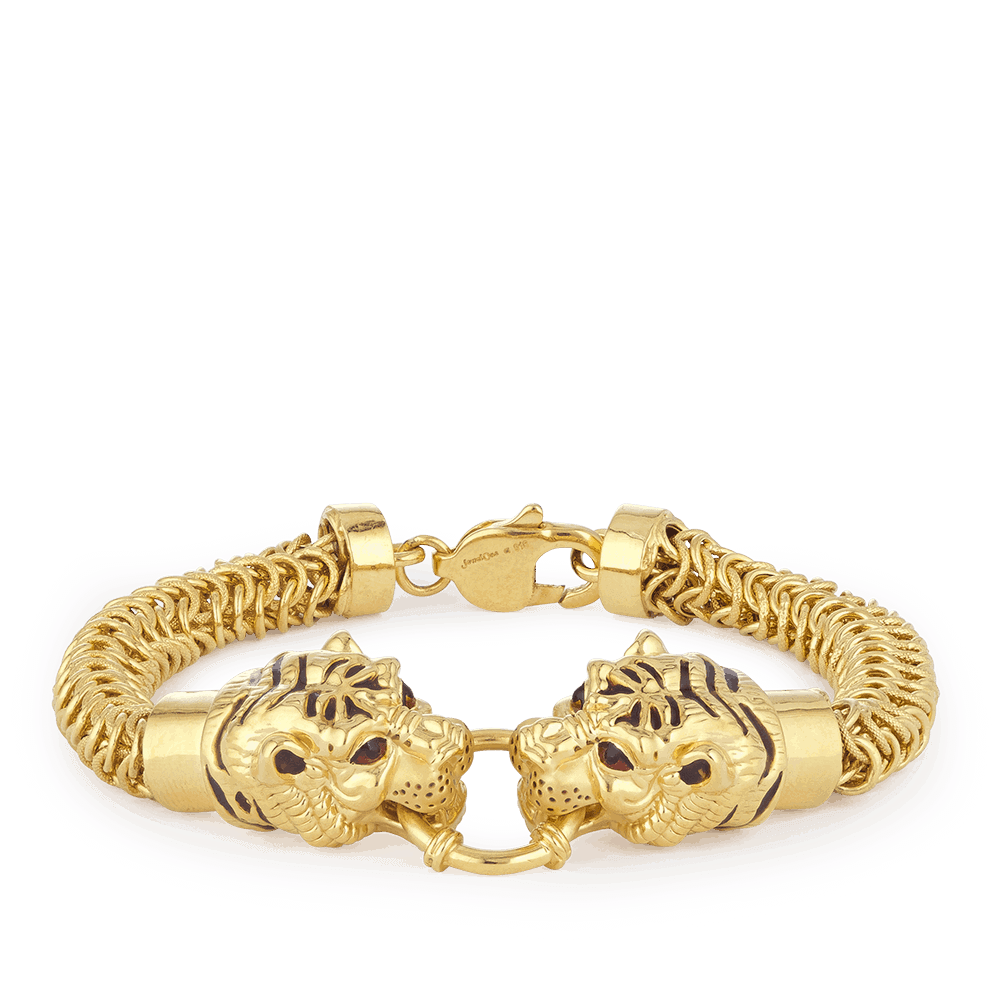 30153 - 22ct Gold Tiger Gents Bracelet