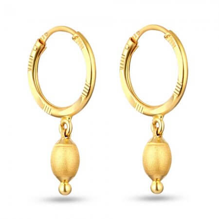 28602 - 22 Carat Gold Hoop Earrings With Ball-Droplet