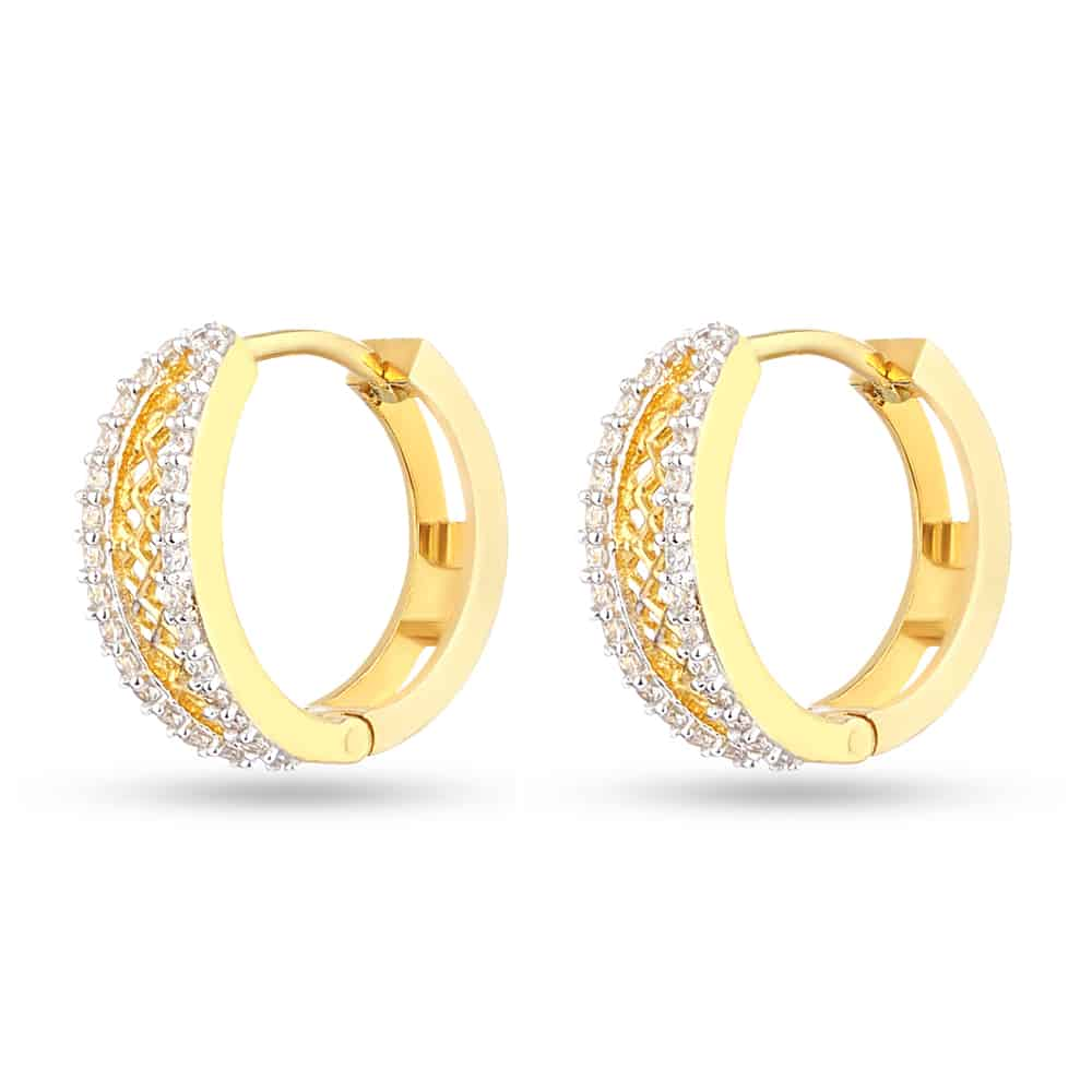 28649 - 22k Gold Indian Hoop Earrings