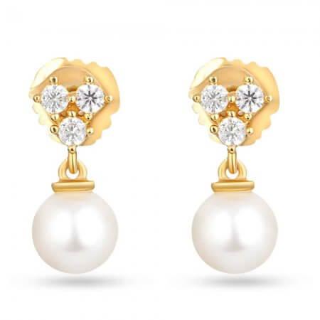 30218 - 22ct Gold Pearl Drop Earring