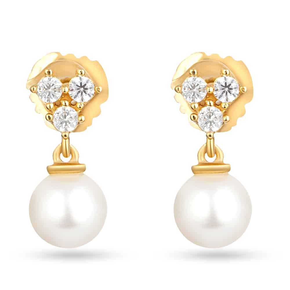 30218 - 22ct Gold Pearl Drop Earring
