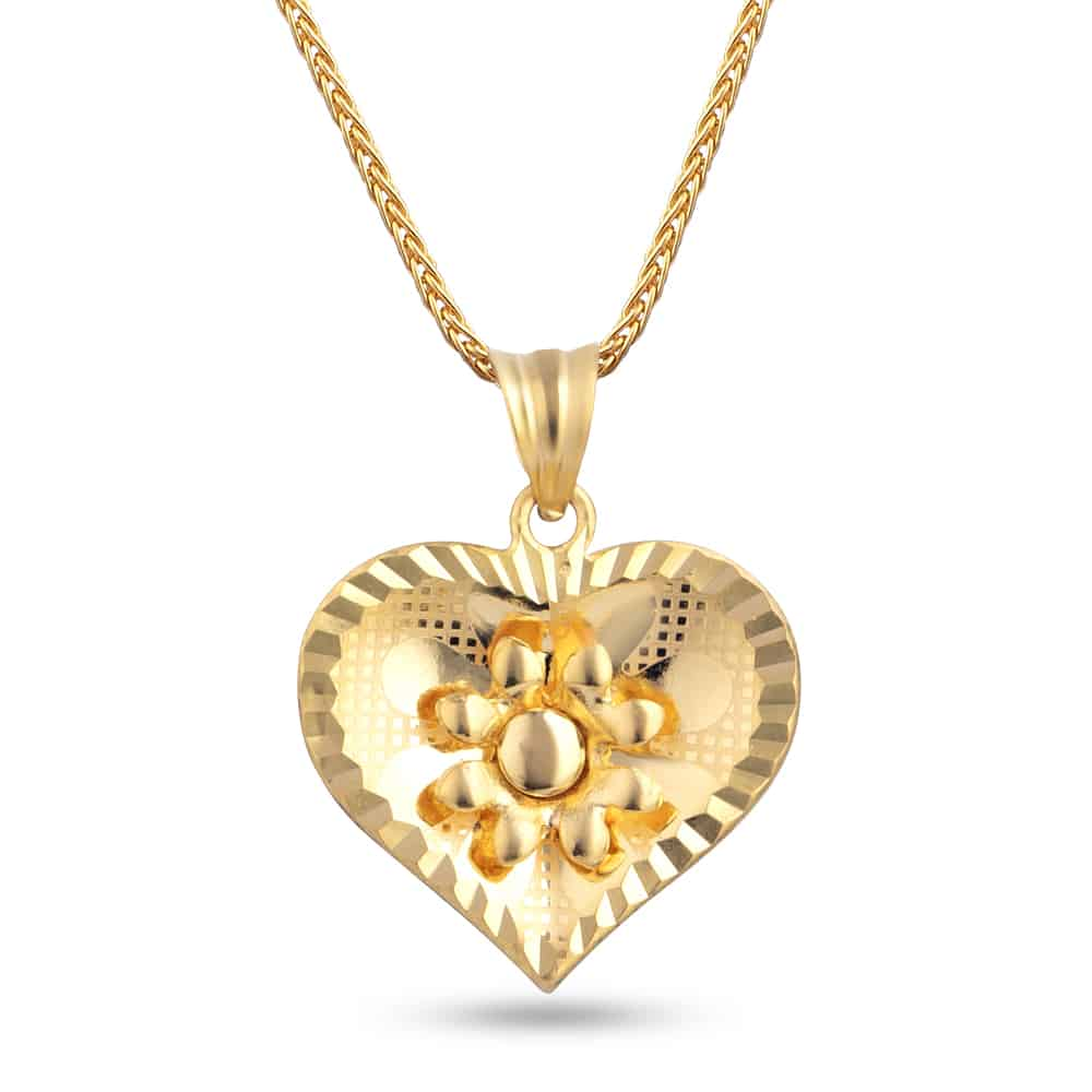 30345 - 22ct Gold Heart Shaped Filigree Pendant