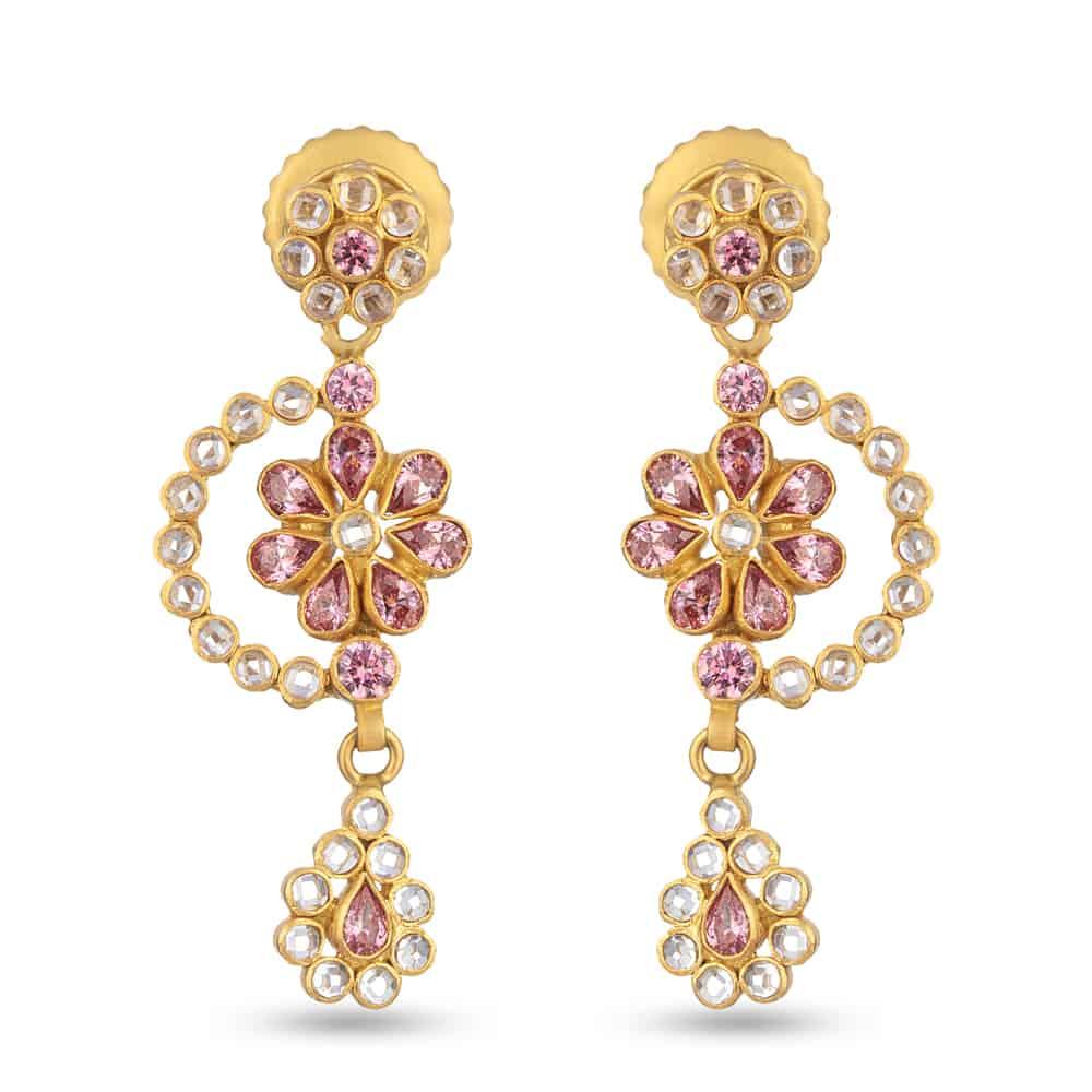 27104 - 22ct Polki Earring Studded With Polki stones