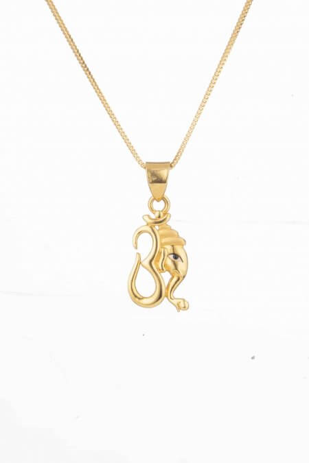 27420 - Ganesh Ji with Om Gold Pendant