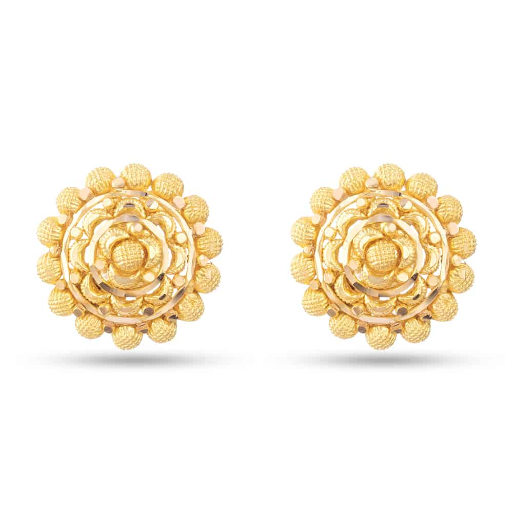30476 - 22 Carat Gold Flower Inspired Stud