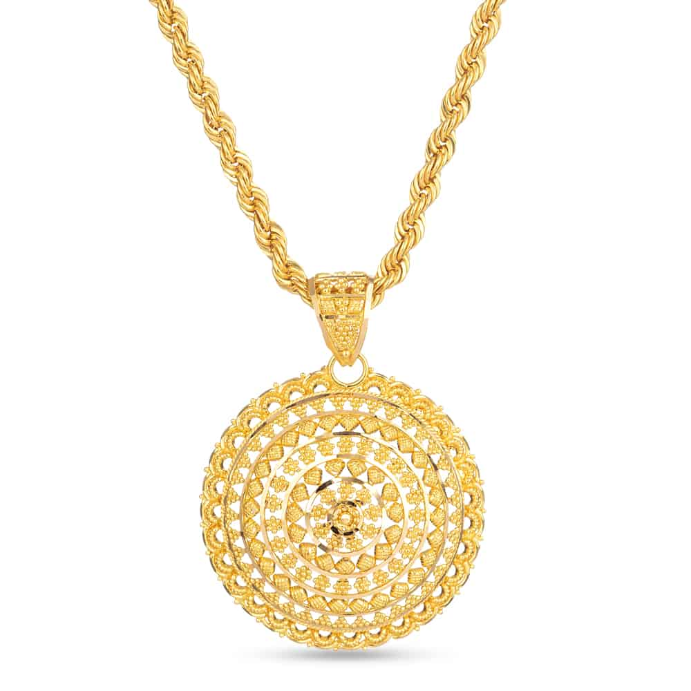 30701 - 22 Carat Gold Round Filigree Pendant