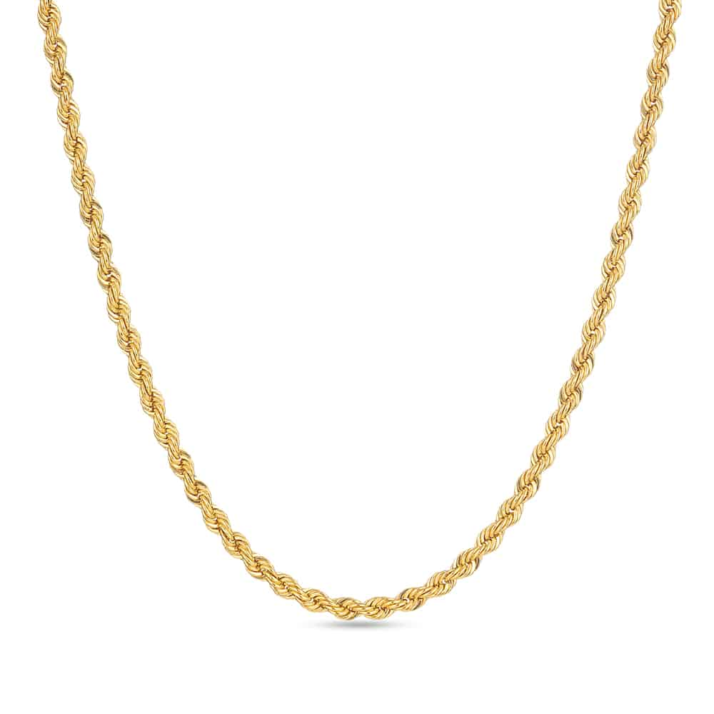30254 - 22ct Yellow Gold Hollow Rope chain Uk