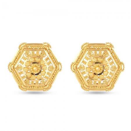 30711 - 22 Carat Yellow Gold Filigree Stud Earring