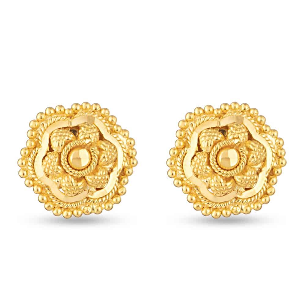 30715 - 22Kt  Yellow Gold Filigree Stud Earring