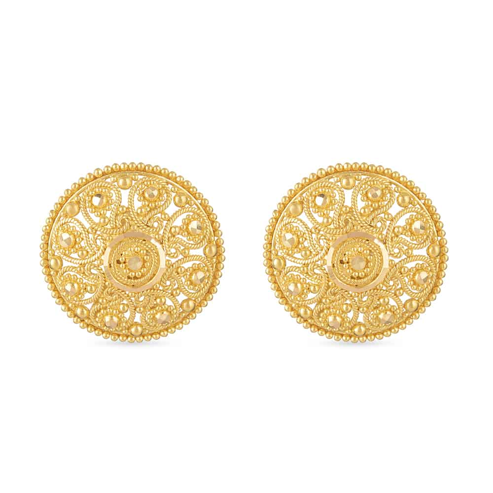 30775 - 22 Carat Gold Jali Stud Earring Uk