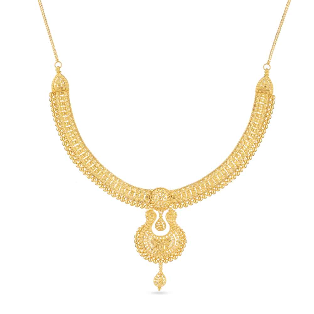 30803 - 22 Ct Gold Jali Choker Necklace with a Drop Pendant