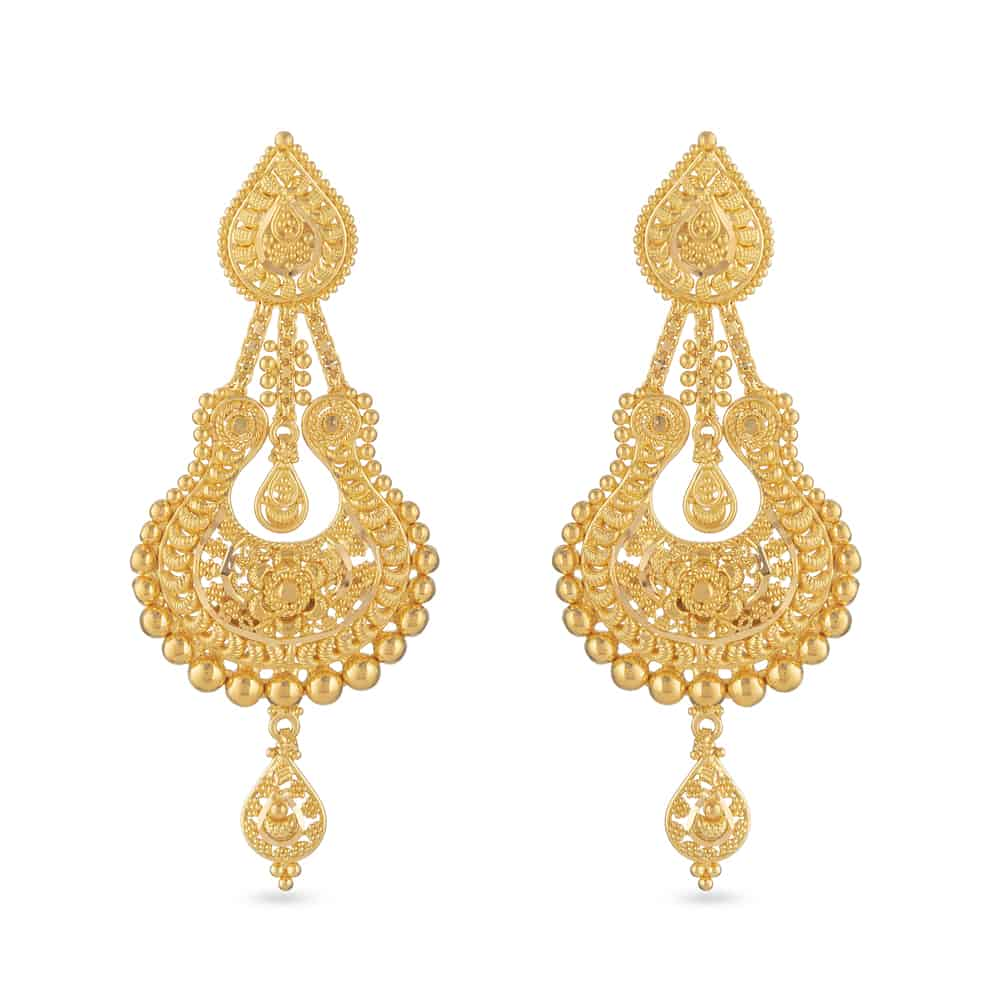 30804 - 22ct Gold Filigree Bridal Earring