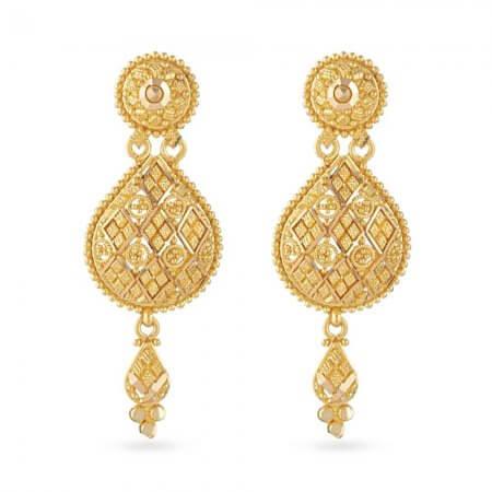 30808 - 22 Carat Gold Filigree Bridal Earring