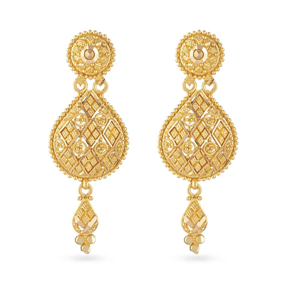 30808 - 22 Carat Gold Filigree Bridal Earring