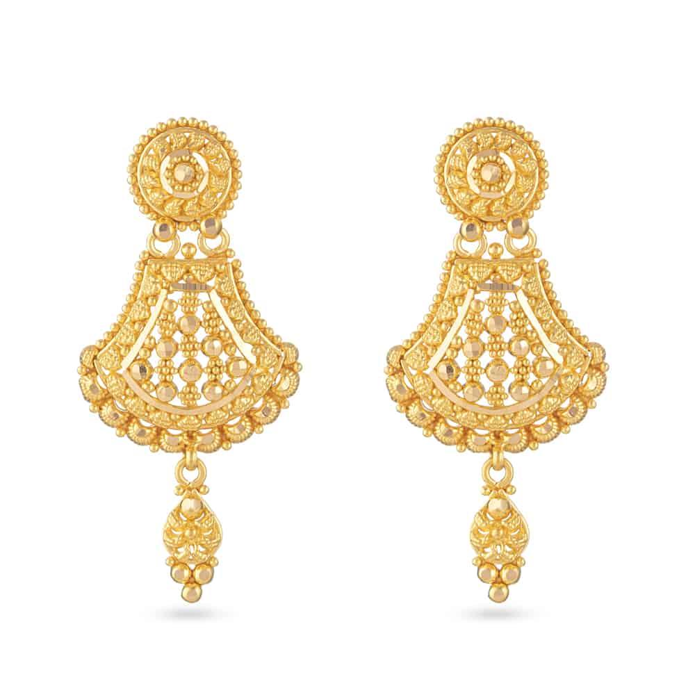 30810 - 22 Carat Gold Filigree Bridal Earring UK