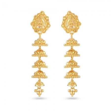 30825 - Jali 22 Carat Gold Jhumka Earring