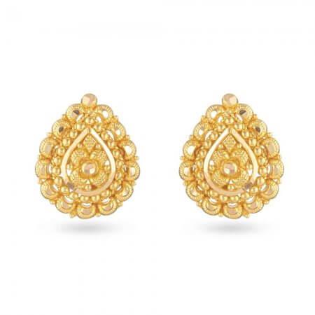 30828 - 22 Carat Yellow Gold Filigree Stud Earring