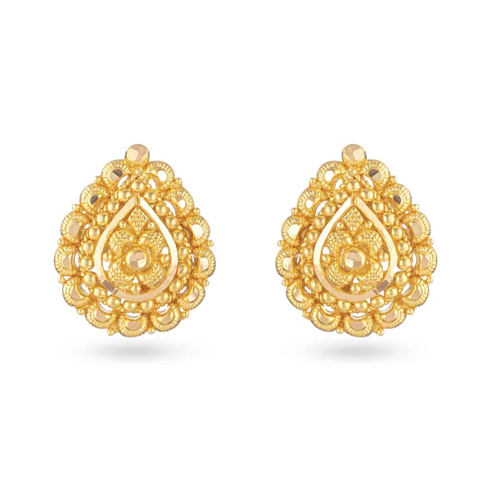 30828 - 22 Carat Yellow Gold Filigree Stud Earring