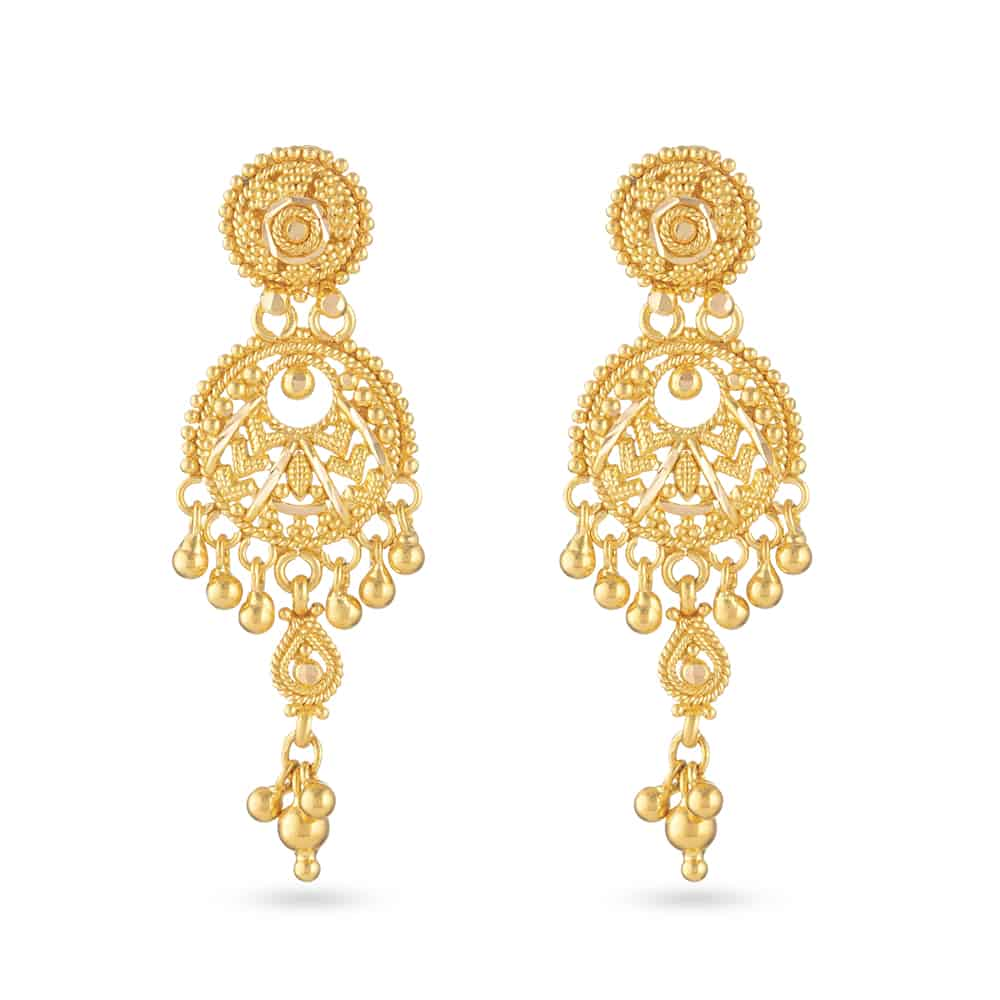 30830 - 22 Carat Yellow Gold Filigree Earring