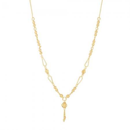 30879 - 22 Carat Gold Jali Medium Chain Necklace with pendant