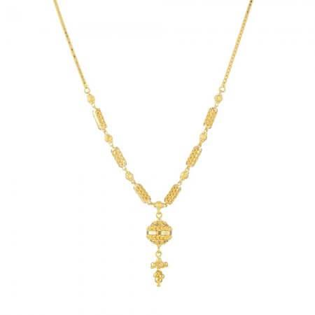 30883 - 22 Carat Gold Jali Long Necklace with Pendant