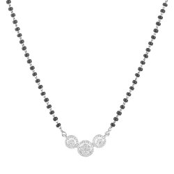 30932 - 18ct White Gold, Black Beaded Mangalsutra with Diamonds