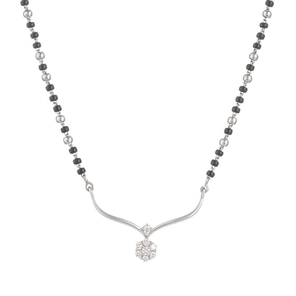 30933 - 18ct White Gold Single Chain Diamond Mangalsutra