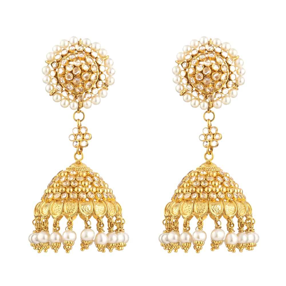 31093 - 22ct Gold Jhumka Earrings