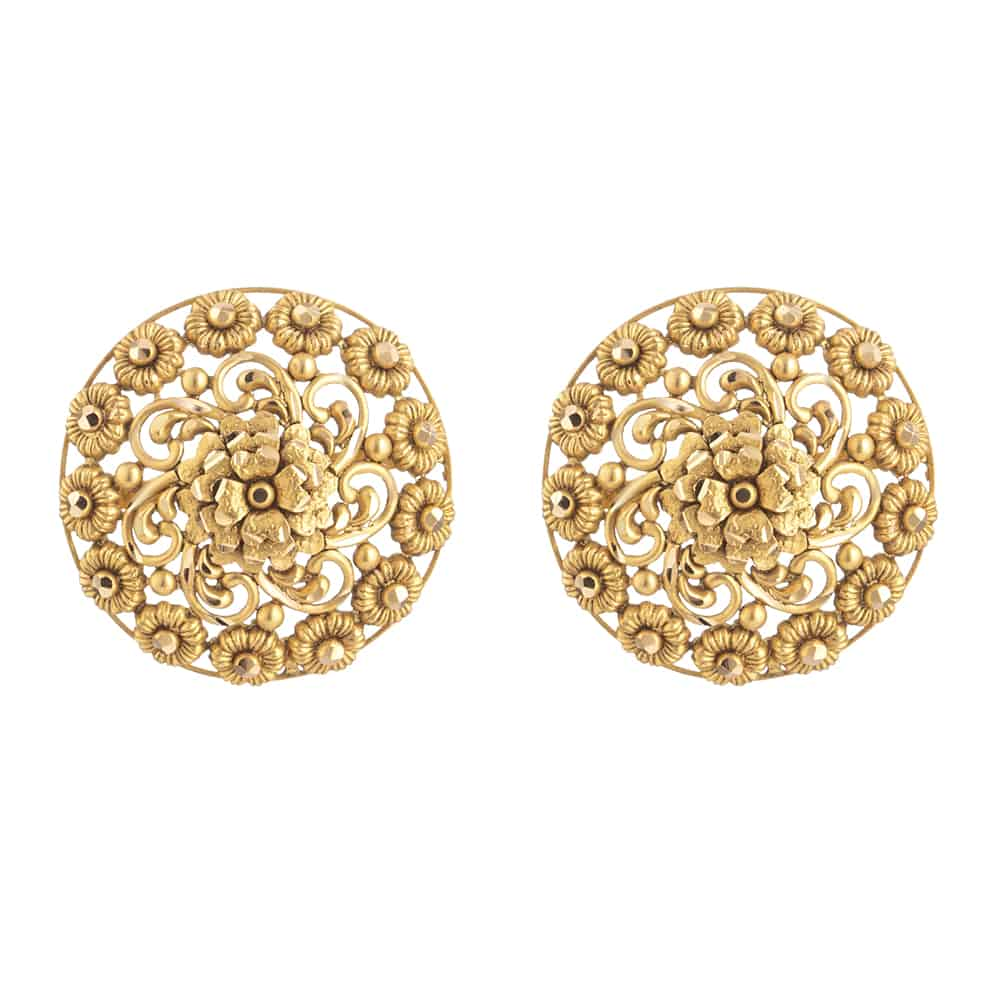 31096 - 22 Carat Gold Earring With Antique Finish