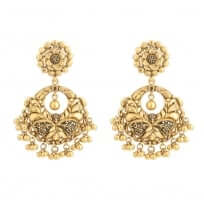31098 - 22 Carat Gold Earring With Antique Finish