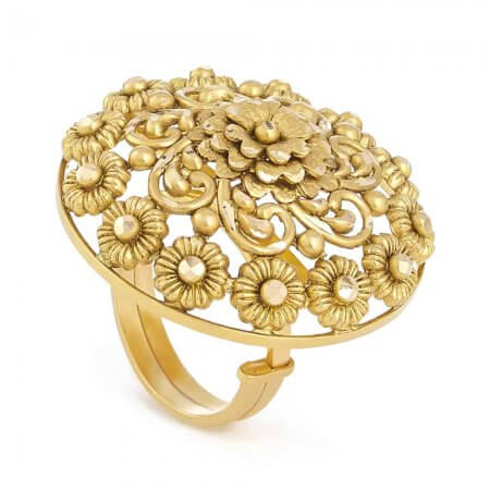 31107 - 22ct Gold Bridal Ring With Antique Finish