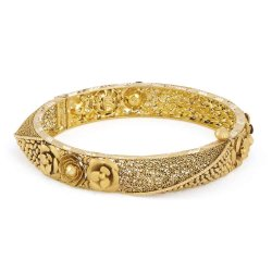 31112 - 22 Karat Gold Kada With Antique Finish