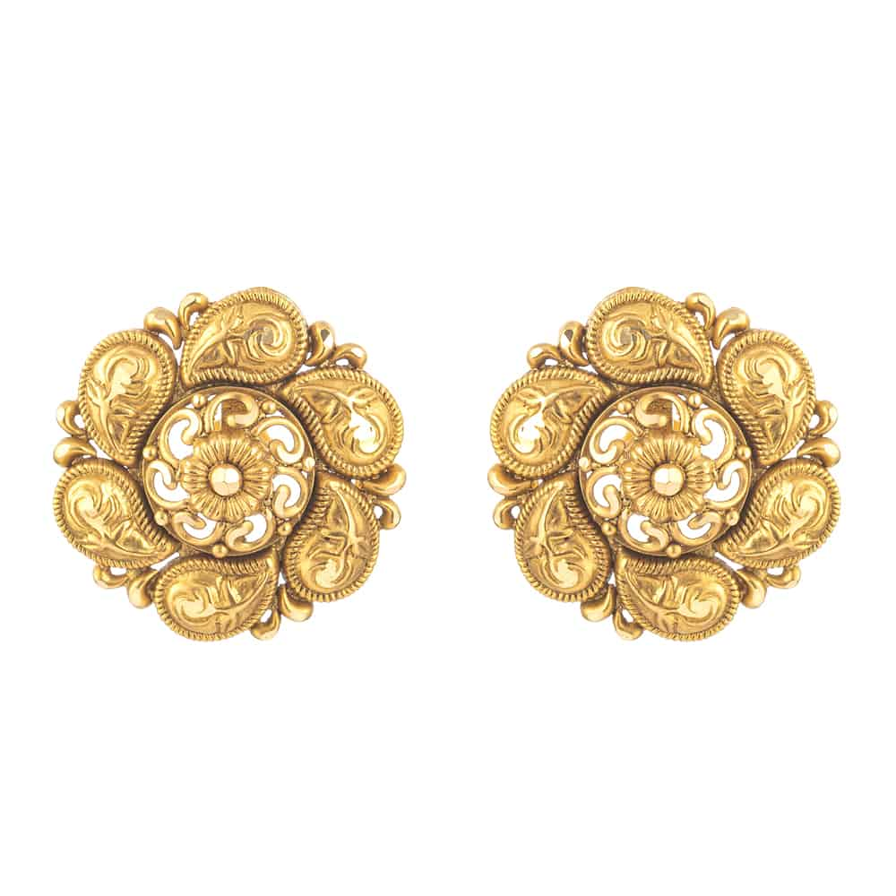 31167 - 22 Carat Gold Earring With Antique Finish