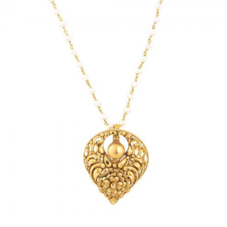 31168 - 22k Yellow Gold Pendant with antique finish