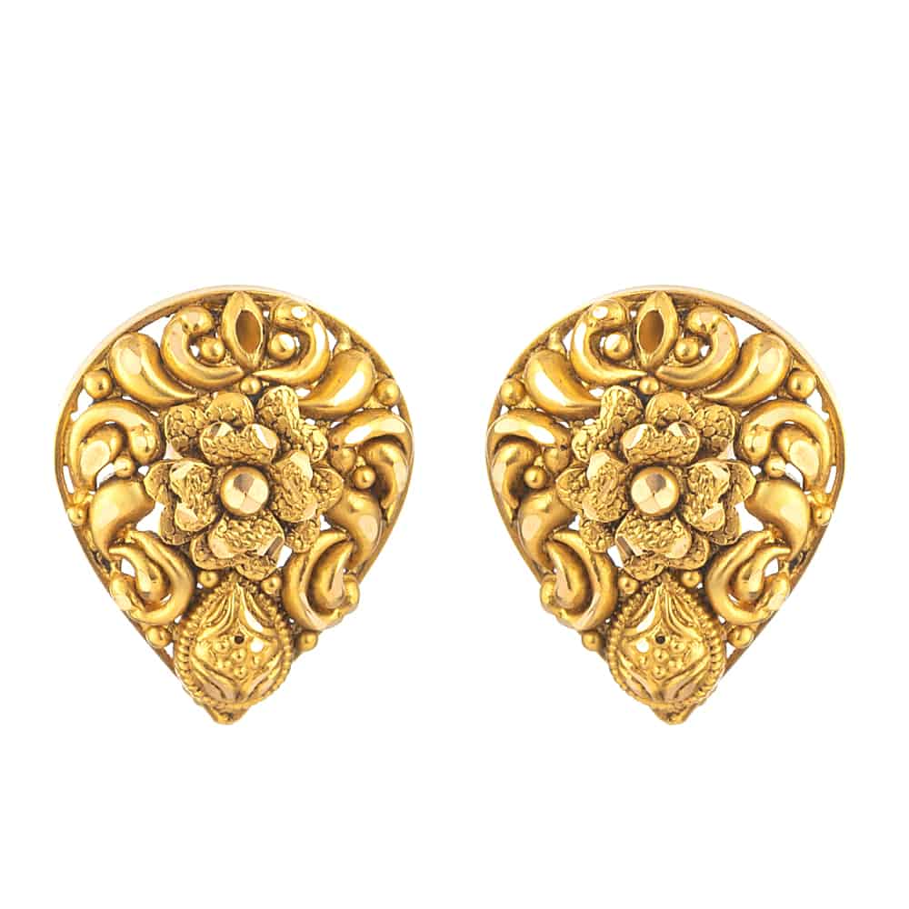 31169 - 22 Carat Gold Earring With Antique Finish