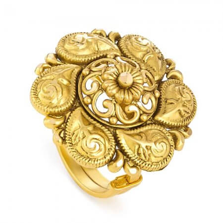 31173 - 22ct Gold Bridal Ring With Antique Finish