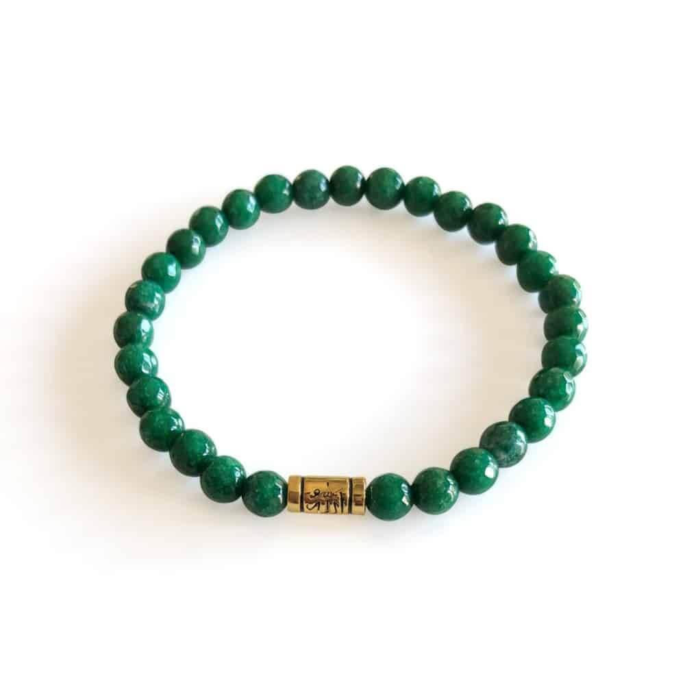 31058 - Green Agate Allah Scripture Silver Bracelet