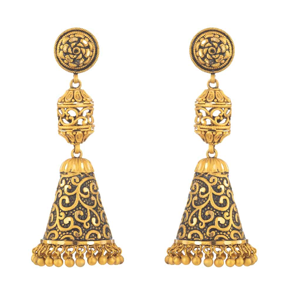 31170 - 22 Carat Gold Earring With Antique Finish