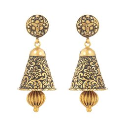 31171 - 22 Carat Gold Earring With Antique Finish