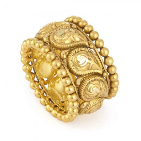31106 - 22ct Gold Bridal Ring With Antique Finish