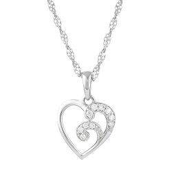30938 - 18ct White Gold Heart Pendant